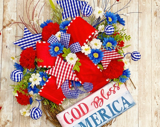 Featured listing image: Patriotic Wreath for Front Door, Fourth Of July Decor, God Bless America Door Hanger, Memorial Day Decor, Independence Day Wreath