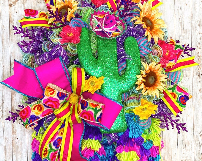 Featured listing image: Fiesta Wreath for Front Door, Cinco De Mayo Decor, Fiesta Wedding Shower, Mexican Theme Shower, Southwestern Party Decor, Housewarming gift
