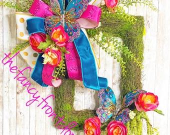 Spring Wreath, Spring Door Hanger, Spring Mantle Decor, Mothers Day Gift, Wedding Present, Housewarming Gift, Gender Reveal Baby Shower