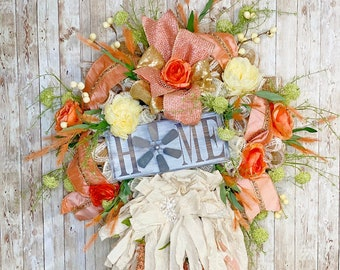 Everyday Wreath For Front Door, Farmhouse Wreath, Rustic Shabby Decor, Summer Wreath, Housewarming Gift, Wedding Present