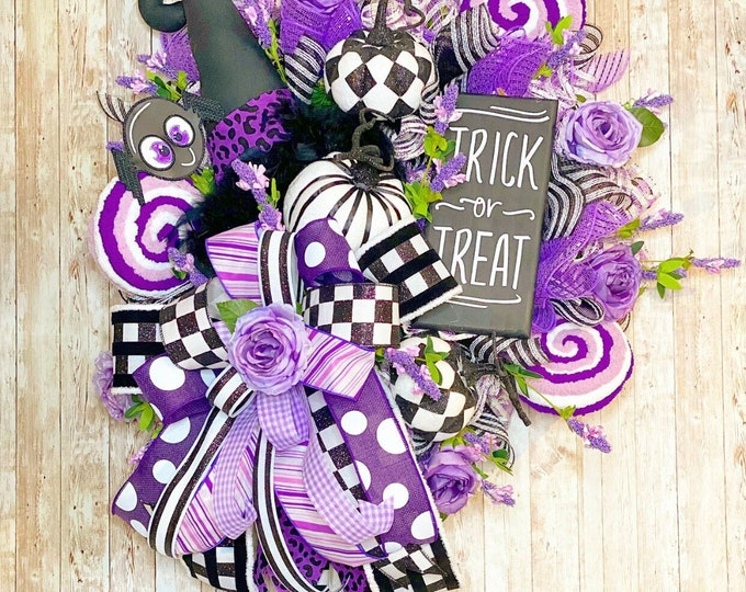 Featured listing image: XL Halloween Witch Wreath, Halloween Door Hanger, Witch Door Hanger, Halloween Party, Halloween home decor