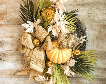Fall Wreath, Front Door Wreath, Fall Home Decor, Fall Mantle Decoration, Housewarming Gift, Thanksgiving decor, Pumpkin Wreath, Rustic glam