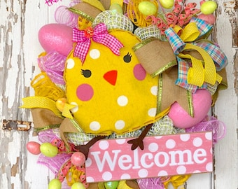 Easter Wreath, Spring Wreath, Spring Easter Wreath, Easter Mesh Wreath, Spring Welcome Wreath, Easter Door Wreath, Easter Party decor,