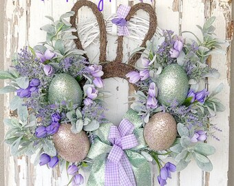 Easter Wreath, Lavender Wreath, Spring wreath, Spring Easter Wreath, Easter Bunny Wreath, Easter Wreath for Front Door, Spring Door wreath