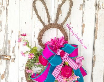 Easter Wreath, Easter Door Hanger, Easter Door Wreath, Easter Bunny Decor, Spring Easter Wreath, Spring Floral Wreath, Easter Door
