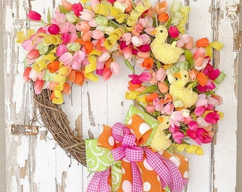 Tulip wreath, Easter Wreath, Spring Wreath, Spring wreath for front door, Easter decor, Easter door, Spring Floral wreath, Spring Door
