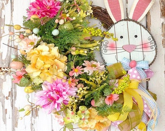 Easter Wreath, Easter Bunny Wreath, Spring Easter Door, Rabbit wreath, Easter Floral Wreath, Easter Gift, Easter party Decor, Easter Decor
