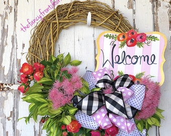 Summer Wreath, welcome wreath, everyday wreath, every day wreath, floral wreath, grapevine wreath, wedding gift, housewarming gift