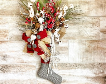 Christmas Stocking Wall Hanger, Rustic Christmas Wreath, Farmhouse Christmas Decor