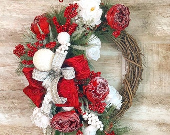 Christmas Floral Wreath, Winter Floral Wreath, Christmas Grapevine Wreath, Mantle Wreath, Christmas gift, Hostess Gift, Housewarming gift