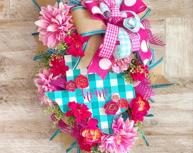Featured listing image: Texas Wreath, Texas Decor, Summer Wreath, Everyday Wreath, Texas Door Hanger, Housewarming Gift, Texas Home Sign, Christmas gift ,Texas gift