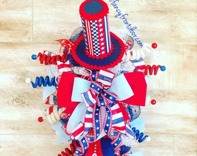 Featured listing image: Patriotic Wreath, Uncle Sam Wreath, Fourth of July decor, Patriotic party Decor, red white and blue decor, Patriotic Door hanger