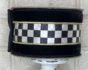 """4"""" Black Velvet With Glitter Checked Ribbon ~ 5 yards ~ Wired"""