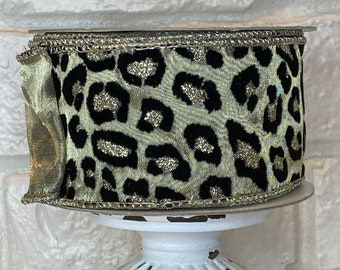 """2.5"""" Cheetah/ Leopard Flocked Ribbon~ 10 yards ~ Wired"""