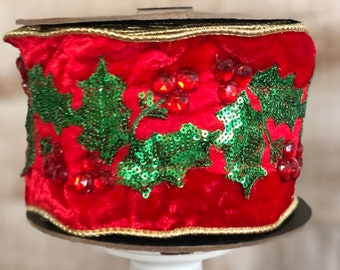 "4"" Red Velvet with Sequins and Jeweled Holly~ 5 yards ~ D Stevens"