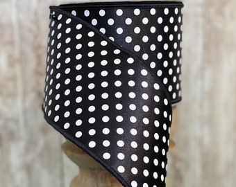 "4"" Black with White Polkadots~ 10yards ~ Wired"