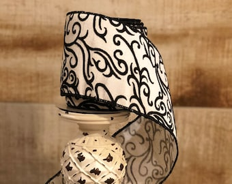 "4"" Black and White Flocked Scroll Ribbon"
