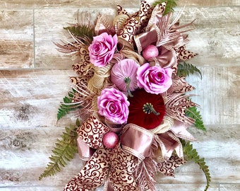 Fall Wreath, Fall Swag, Fall Door Hanger, Fall decor, Fall Front Door, Fall porch decor, Rose Gold Decor, Fall wedding Decor, Housewarming