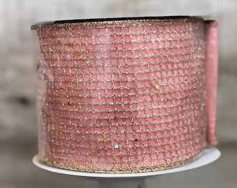 Farrisilk Pink w/ Glitter Mesh Ribbon ~ 4in x 5 yards