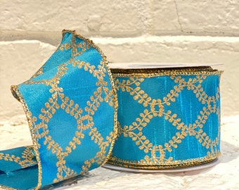 """2.5"""" Turquoise W/ Gold Filigree ~ 10yards ~ Wired"""
