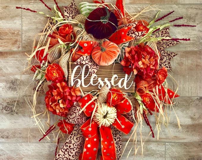 Featured listing image: Fall wreath, fall doorhanger, Front Door Wreath, Fall Home decor, Fall porch decor, pumpkin wreath, housewarming gift, fall mantle