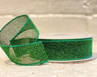 "1.5"" Emerald Sparkle Radiance ~ 20 yards ~ Wired"