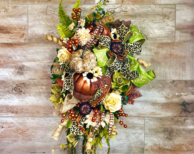 Featured listing image: Fall Wreath, Fall Wreath For Front Door, Fall Decorations, Fall Door, Autumn Wreath, Fall Floral Wreath, Thanksgiving Decorations, Fall swag