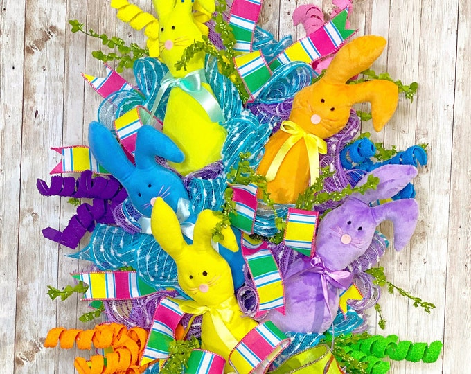 Featured listing image: Easter Bunny Wreath, Easter Door Hanger, Spring Wreath For Front Door, Easter Gift