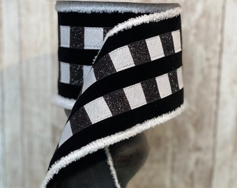 "4"" Fur Edge Check Striped Velvet Ribbon~ 10yards ~ Wired"