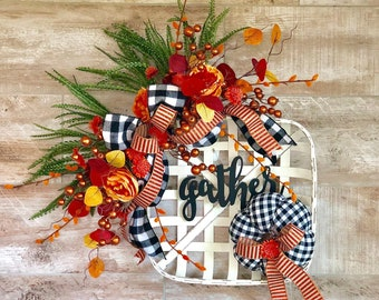 Fall Wreath, Fall Door Hanger, buffalo plaid decor, Fall Home decor, Fall porch Decor, fall mantle, fall door, housewarming gift, Fall decor