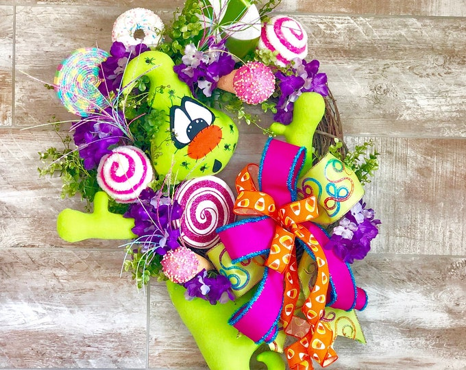 Featured listing image: Halloween Wreath, Halloween Candy Wreath, Halloween Door Decor, Halloween Ghost, Halloween kids party, Halloween home decor, Fall Wreath