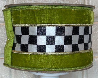 """4"""" Green Velvet and Glitter Checked Ribbon~ 5 yards ~ Wired"""