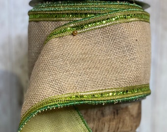 4in green sequin burlap ~ 10 yards ~ Wired
