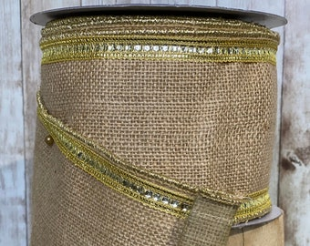 4in gold sequins burlap ribbon ~ 10 yards ~ Wired