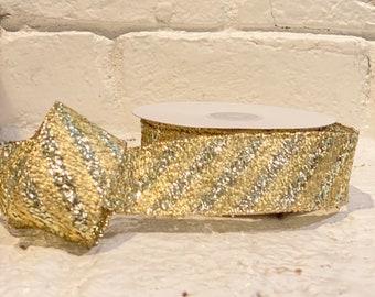 """1.5"""" diagonal gold metallic stripe ~ 10yards ~ Wired"""