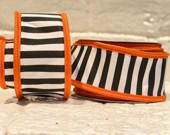 """2.5"""" Black Horizontal Stripes w/ Orange Boarder ~ 10yards ~ Wired"""