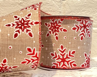 """4"""" Red Glitter Snowflake on Burlap~ 10yards ~ Wired"""