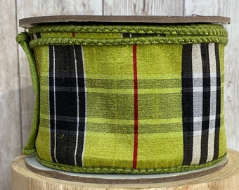 2.5in lime green plaid ~ 10 yards ~ Wired