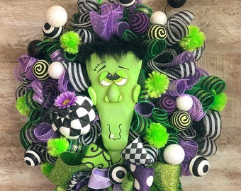 Halloween Wreath for Front Door, Frankenstein decor, Halloween Party Decor, Whimsical Halloween, Frankie DoorHanger, Cute Halloween Theme