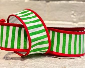 "2.5"" Green Horizontal Stripe w/ Red Boarder ~ 10yards ~ Wired"