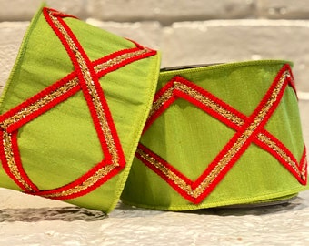 """4"""" Red Diamond Trim on Lime Green Luxe Ribbon ~ 10yards ~ Wired"""