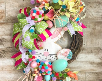 Easter Wreath, Spring Wreath, Easter Wreath For Front Door, Easter Bunny Wreath, Easter Decorations, Grapevine Wreath, Housewarming Gift
