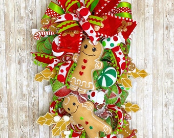 Gingerbread Swag, Gingerbread wreath for front door, Christmas decor, teacher gift, mantle wreath, Gingerbread house theme