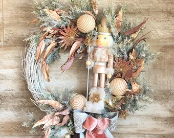 Elegant Rose Gold Nutcracker Wreath