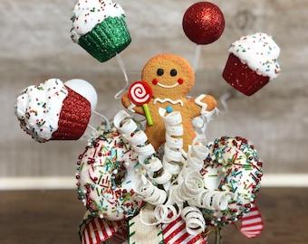 Christmas Centerpiece, Small Centerpiece, Teacher Gift, Secretary gift, small gift, hostess gift, table decor, handmade gift, secret Santa