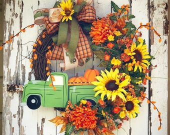 Fall floral wreath, Fall grapevine wreath, Sunflower wreath, Fall wreath for front door, farmhouse wreath, rustic wreath