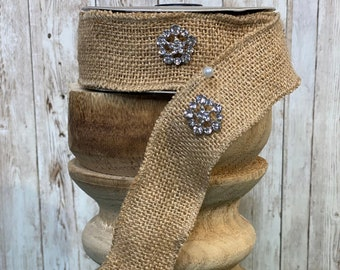 """1.5"""" burlap w/ vintage crystal buttons ~ 5 yards~ Wired"""