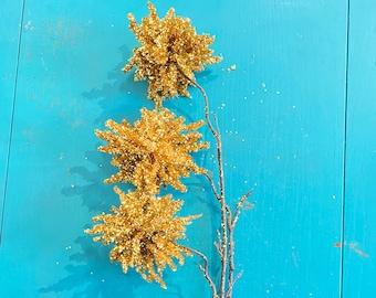 Glittered Gold Hanging Allium Spray