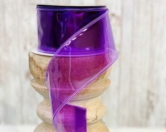 "2.5"" purple jelly ribbon ~ 10yards ~ Wired ~ Farrisilk"