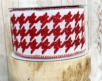 """2.5"""" red glitter houndstooth ~ 10yards ~ Wired"""